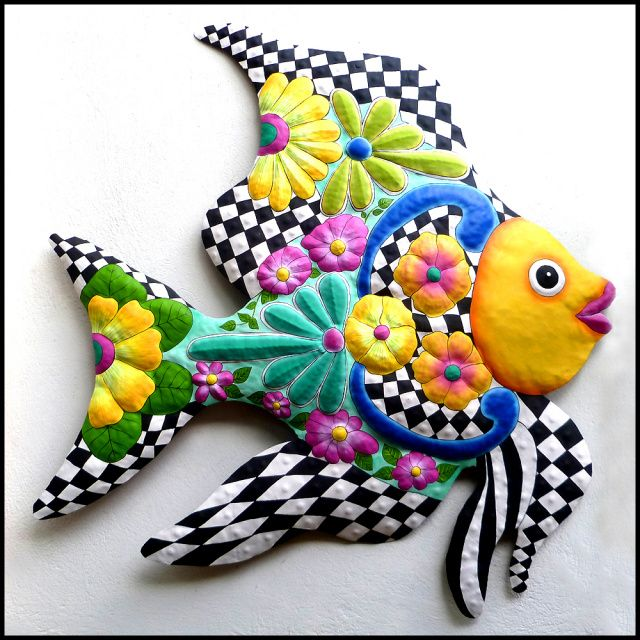 """Painted Metal Tropical Fish Wall Hanging - Funky Caribbean Home Decor - 35"""" x 39""""   -- See more hand painted metal wall decor at www.TropicDecor.com"""