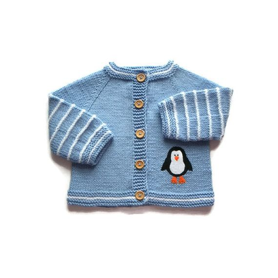 Blue and white penguin jacket knit baby wool jacket by Tuttolv, $39.00
