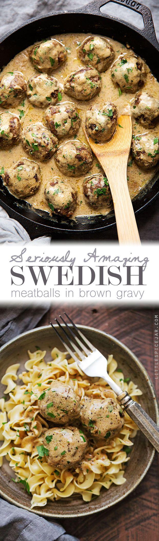 En serio asombrosos suecas Albóndigas en salsa cafe - albóndigas abundantes y reconfortantes en la más deliciosa salsa marrón nunca!  #swedishmeatballs #meatballs #browngravy |  Littlespicejar.com