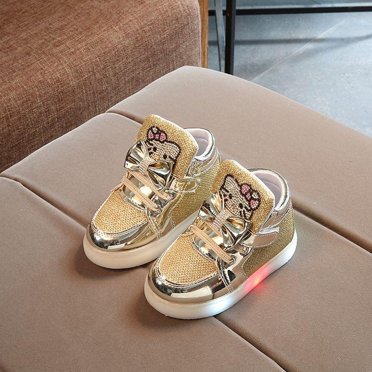 Enfants Filles Chaussures Printemps Automne Hiver Enfants de Sneakers Garçon Chaussures Chaussure Enfant Bonjour Kitty Bébé Chaussures Avec LED Lumière