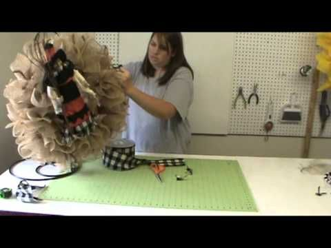 Trendy Tree Tutorial Burlap Halloween Wreath with Witch  Subscribe to the Trendy Tree Channel http://www.youtube.com/subscription_center?add_user=trendytree
