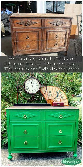before and after Roadside Rescued Dresser Makeover Emerald Green Eclectic Boho style