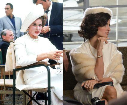 "Karla Zachanassian (Ingrid Bergman) en ""La visita del rencor"" (1964). Vestuario: René Hubert y Nina Ricci Vs.  Macarena Granada (Penélope Cruz) en ""La reina de España"" (2016). Diseño vestuario: Lala Huete."