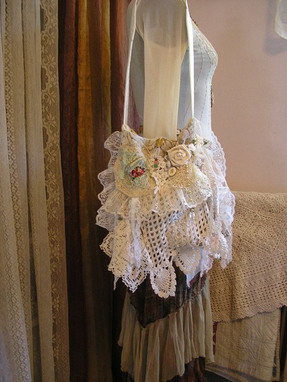 Shabby Cottage Purse, romantic victorian chic, white and creme handmade by TatteredDelicates