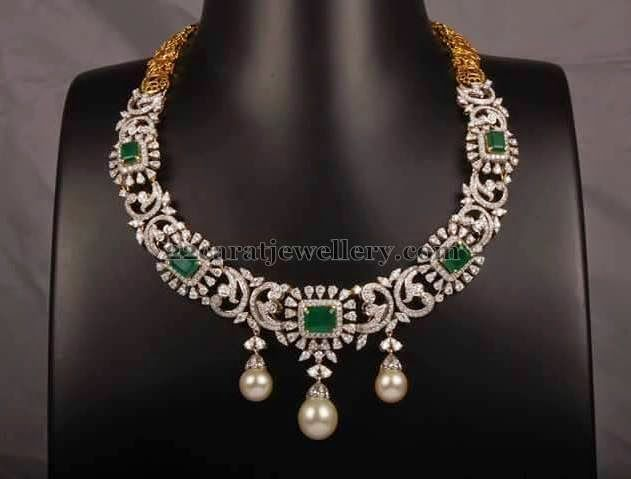 Jewellery Designs: Diamond Emerald Necklace