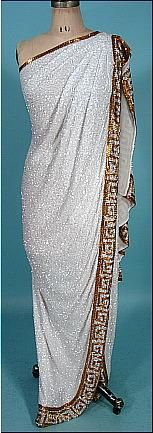 1982 JERAN White Beaded Grecian Toga Gown