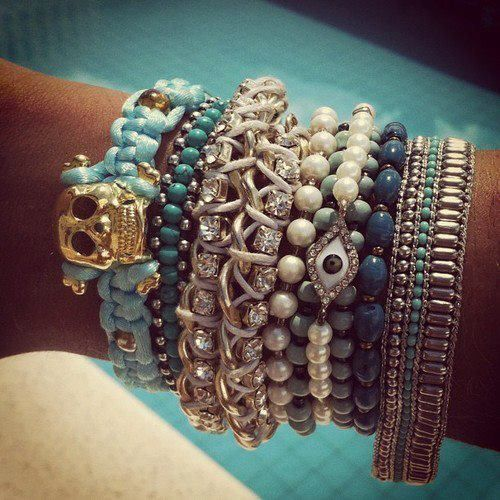 Bracelets, bracelets, braceletsStacked Bracelets, Fashion, Wrist Candies, Blue, Skull Bracelets, Jewelry, Accessories, Arm Candies, Arm Parties