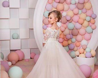 Vestidos del desfile de chicas bola vestido de encaje blanco tutú largo que se arrastra poco bebé vestidos de niña de las flores para bodas
