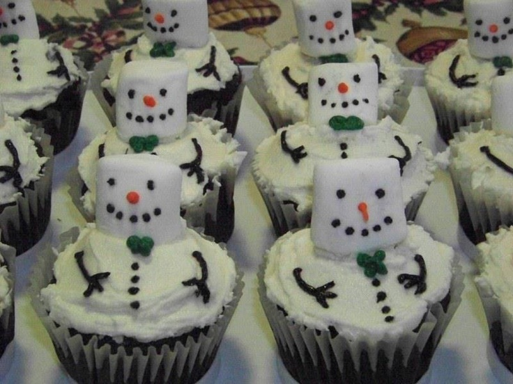 Melting Snowmen Cupcakes made by Bakeru0027s Club member Barbara R. with Duncan Hines Devilu0027s Food cake mix. & 309 best Christmas Food u0026 Drink images on Pinterest | Petit fours ...