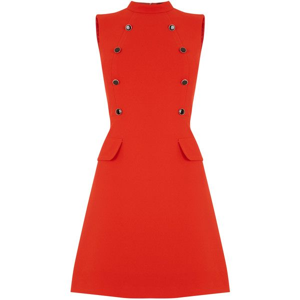 OASIS 60s A Line Shift Dress ($80) ❤ liked on Polyvore featuring dresses, orange, retro dress, red dress, shift dress, vintage dresses and vintage orange dress