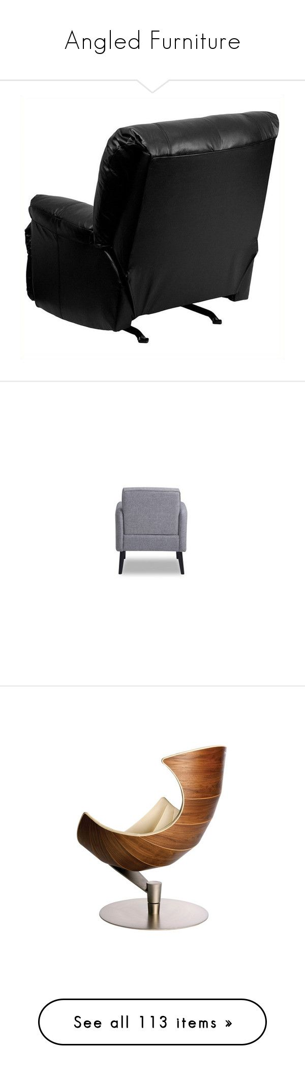 """Angled Furniture"" by mysfytdesigns ❤ liked on Polyvore featuring home, furniture, chairs, recliners, chair, black chair, cushioned rocking chair, contemporary leather recliners, black leather chair and contemporary rocking chair"