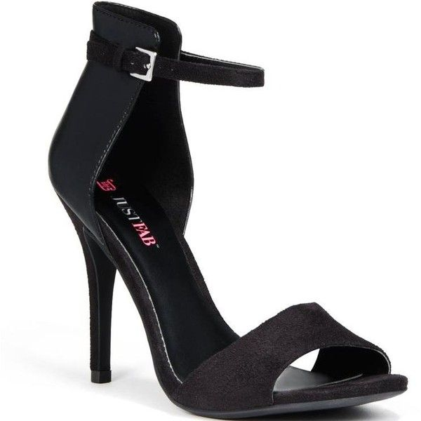 JustFab Women's Aveiro - Black (145 BRL) ❤ liked on Polyvore featuring shoes, ankle strap, open toe, sandals, stiletto heels, women, black stilettos, stiletto heel shoes, justfab and open toe shoes