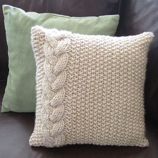 braided cable and moss stitch pillow cover pattern by jennifer wilby