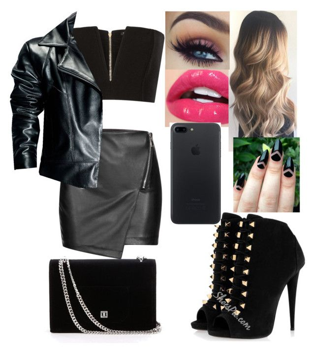 """""""Black Leather Skirt Outfit"""" by safia4life ❤ liked on Polyvore featuring Balmain, Leka and Apple"""