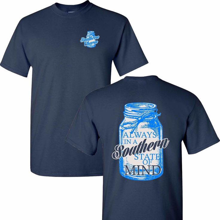 Southern Charm Mason Jar Southern State of Mind on Navy Shirt Simply South #ShirtWarehouse