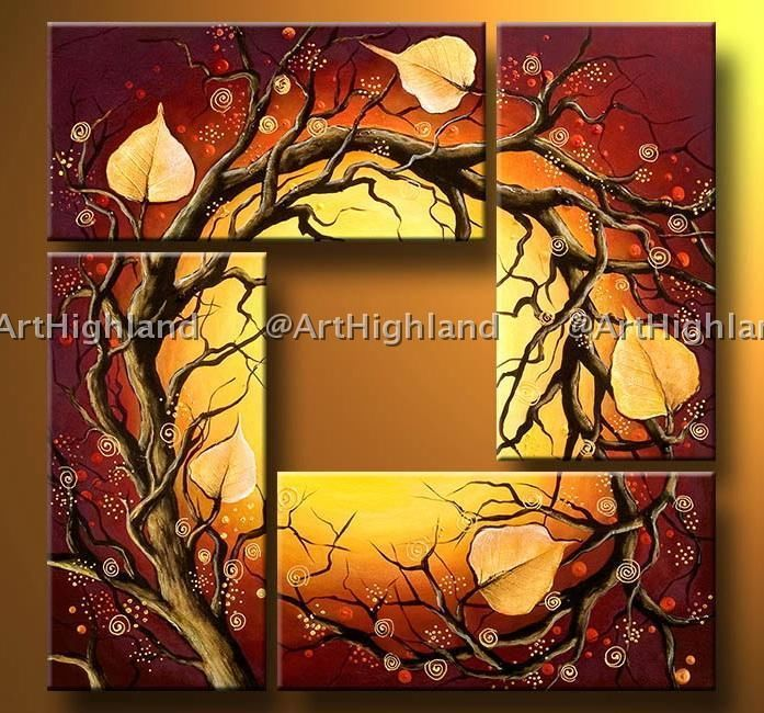 Art Nouveau Paintings | New Modern Abstract Oil Paintings Painting on Canvas Wall Art Deco Set