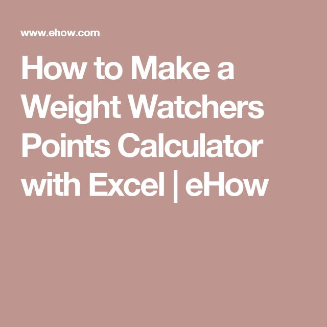 How to Make a Weight Watchers Points Calculator with Excel | eHow