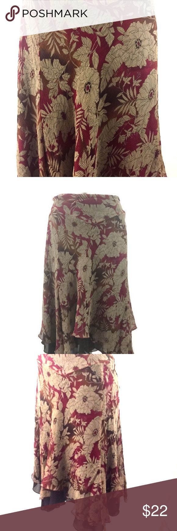 Floral Silk Multi Layer Midi Skirt Nine West Red & Tan Silk Floral Multi-Layer Scarf Hemline Maxi Skirt      Size 18W     Red & Tan Floral Print with a Brown Silk Under Layer      Side Zip Closure  Approximate Measurements:     Waist: 38 Inches     Length: 27 Inches (Front)     Length from Longest Point 32.5 Inches (Side) Nine West Skirts Midi