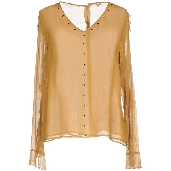 Met Blouse (60 CAD) ❤ liked on Polyvore featuring tops, blouses, camel, long sleeve v neck blouse, v-neck tops, v neck long sleeve top, logo top and ruched blouse