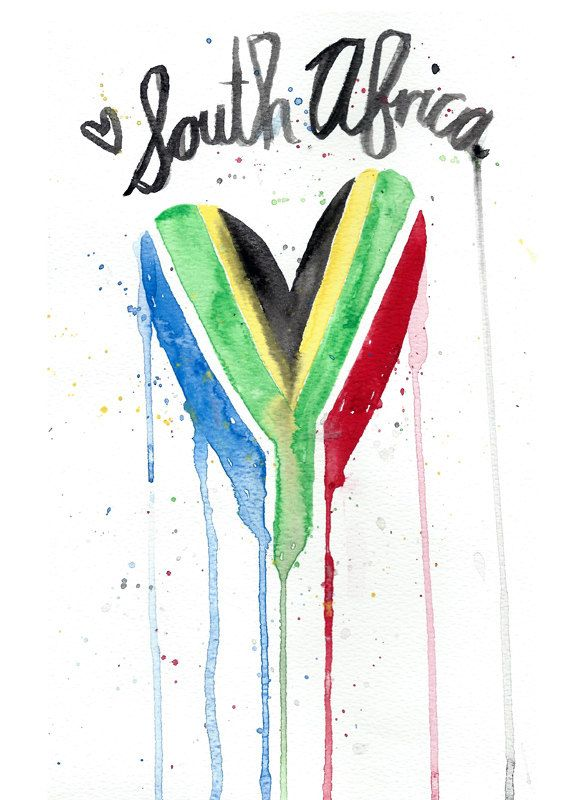 South Africa Watercolor Heart Flag Art.