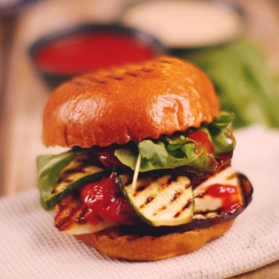 The Happy Pear's halloumi burger with chilli ketchup