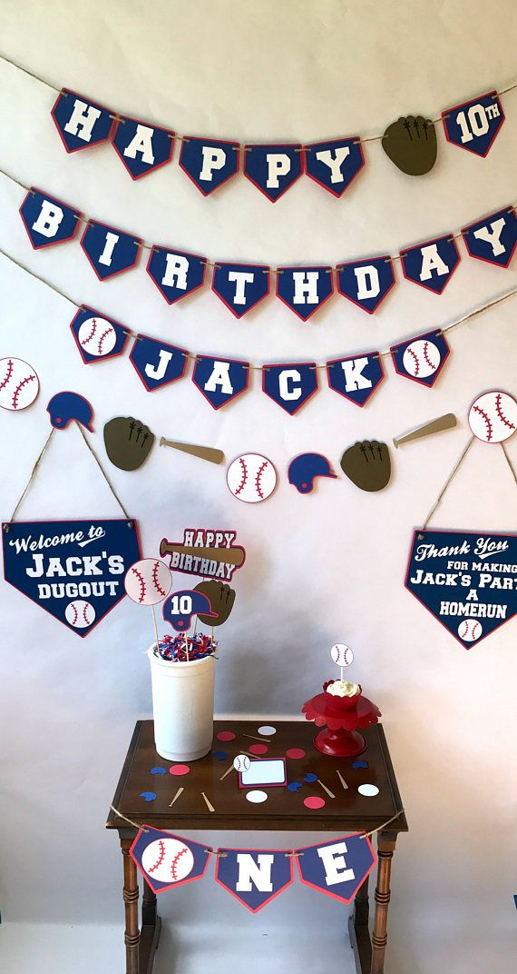 Party Package is designed with blue, red, and white colors. Accented with baseball, gloves, bats and helmets.  Party Package Includes: * 1 Happy Birthday Banner with age and name * 1 Garland Banner (4ft.) * 1 Concessions Banner * 1 Thank You Sign * 1 Welcome Sign * 1 Centerpiece * 12 Cupcake Toppers * 100 piece Confetti * 10 Place Cards  * Made from heavy acid free card stock paper * See below for description of each piece you will receive * Party packages are shipped 3-day Priority Mail…