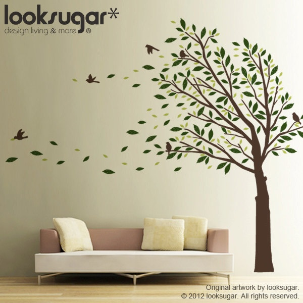 0087 Tree Wall Decal   Tree Wall Sticker   Elegant Wall Decal   Modern Home  Wall Part 97