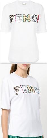 Embellished Cotton T-shirt, White