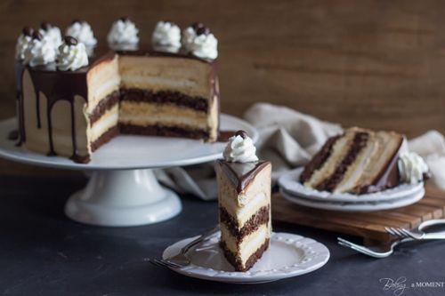 Salted Caramel Mocha Heaven and Hell Cake #chocolate