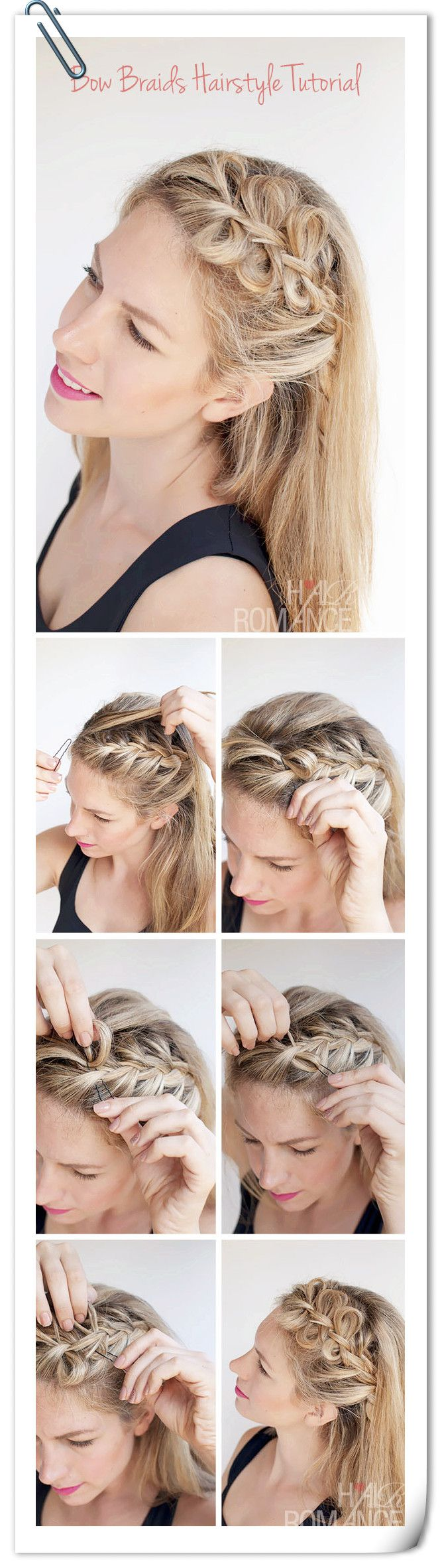 Simple fro bow braid hairstyling for vacation :)