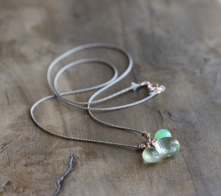 Silk and rose gold necklace - green amethyst, prehnite & chrysoprase briolettes on grey silk cord - gemstone pendant necklace by Kianda on Etsy https://www.etsy.com/uk/listing/504554035/silk-and-rose-gold-necklace-green