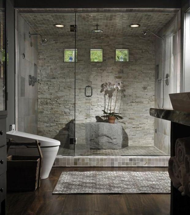 Photo : Salle de bain douche en pierre