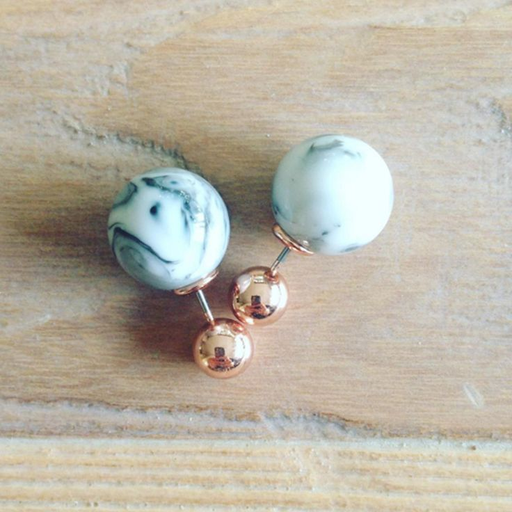 Cocktail Hour: Marble magic double ending earrings via @playdoughandpinot