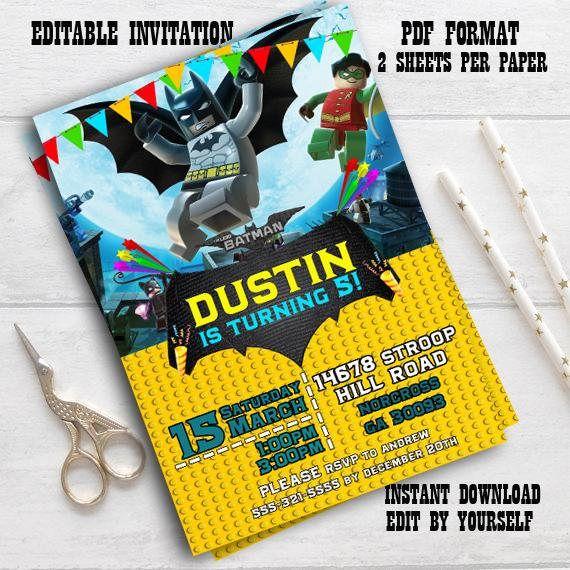 Instant Download-Lego Batman Invitation Lego Batman Invite