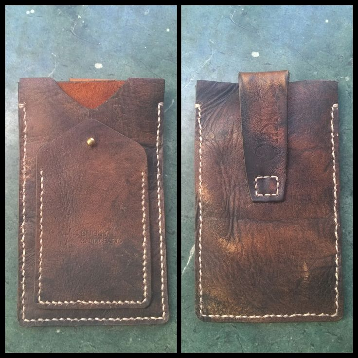 Handmade handstitched leather case / card holder for iphone6 by Bugsy Handicrafts