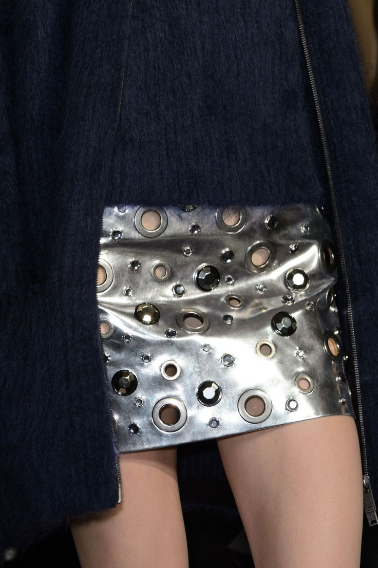 Silver leather skirt with eyelets; metallic fashion details // Sonia Rykiel Fall 2015