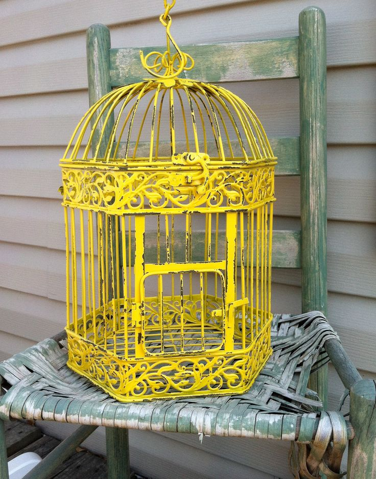 Hexagon Shaped Yellow Country French Bird Cage Cottage