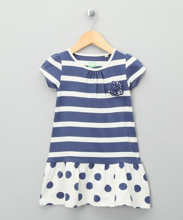 Take a look at this Navy & Ecru Nautical Organic Dress - Toddler & Girls by Kite Kids on #zulily today!