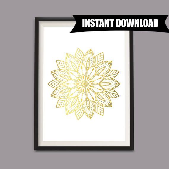 Gold Mandala Wall Art Print, Gold Mandala Printable Wall Art, A4 Printable, DIY Wall Decor, Gold Wall Hanging, Modern Art Printable (P3)