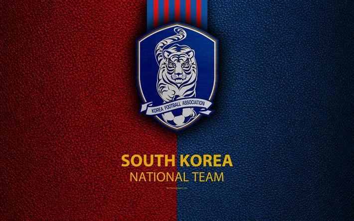 Download wallpapers South Korea national football team, 4K, leather texture, emblem, Korea Football Association, logo, Asia, football, South Korea