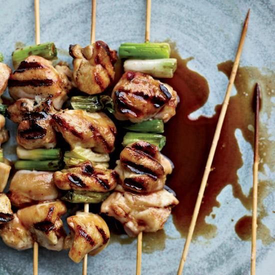 Andrew Zimmern bastes his chicken yakitori with fresh ginger juice.