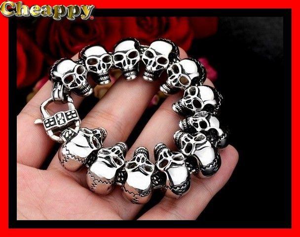 Mooie zware exclusieve skull / Schedel armband 3 lengtes