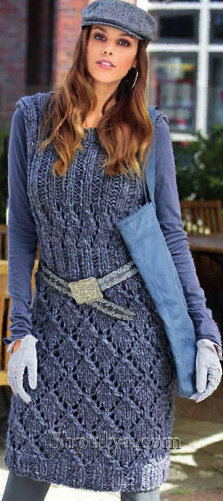 www.SHPULYA.com - Платье с рельефным узором, вязаное спицами