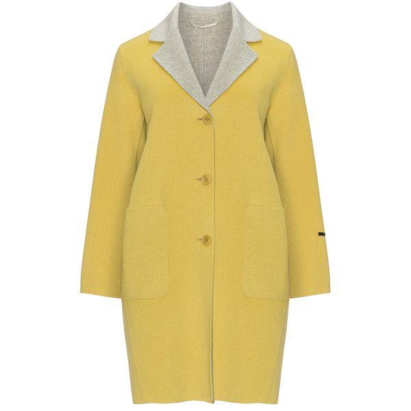 Marina Rinaldi Sport Yellow / Light-Grey Plus Size Contrasting lapel... ($455) ❤ liked on Polyvore featuring plus size women's fashion, plus size clothing, plus size outerwear, plus size coats, plus size, yellow, light grey coat, marina rinaldi, light gray coat and marina rinaldi coats