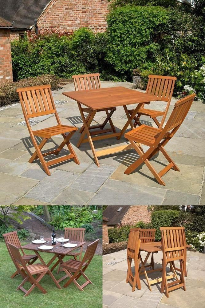 Outdoor 4 Seater Dining Set Table Folding Chairs Classic Square Wooden Furniture Wooden Garden Furniture Outdoor Furniture Sets Dining Table Setting