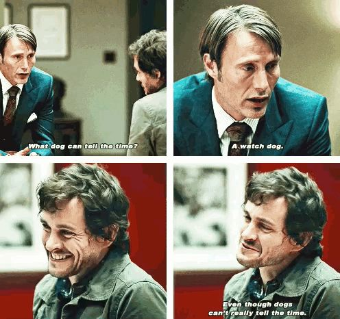 I love Hannibal's face in the end, just like 'dammit bitch, you ruined a perfectly good joke. I thought we had something special here'