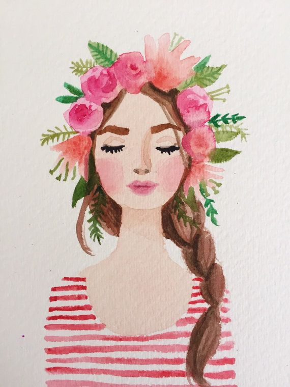 Flower crown girl original watercolor painting. Pink lips, stripes flowers…