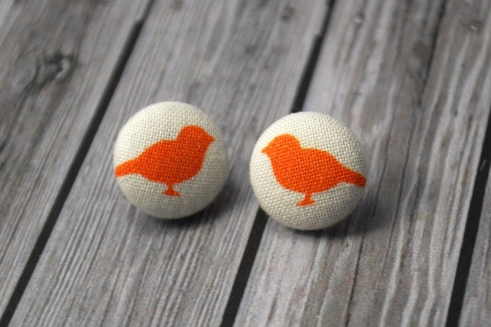Buy 2 pairs and get a third set free. Orange birdy button earrings - by sweetsherbet on madeit