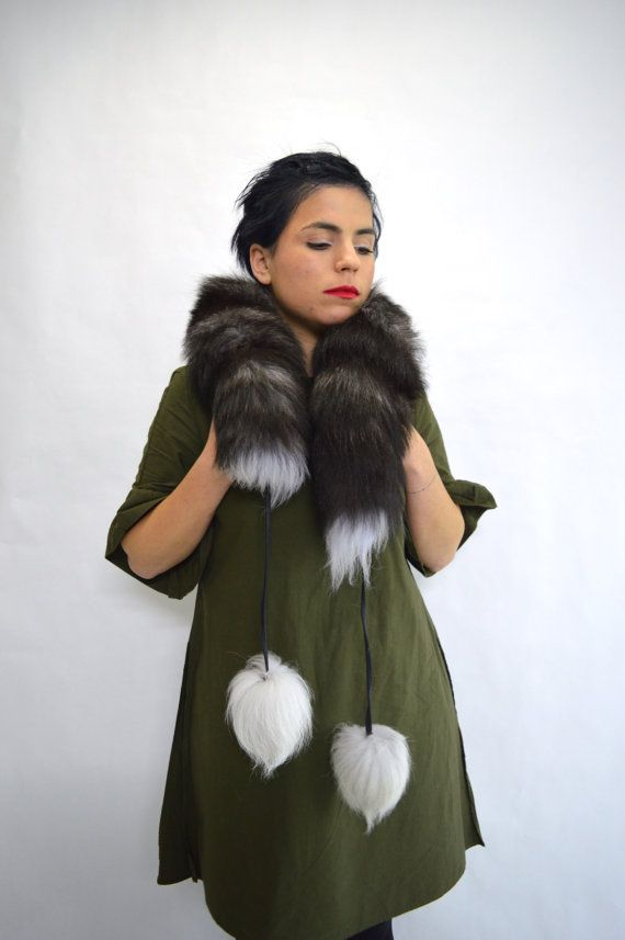 Real silver fox fur scarf wrap collar fur pelt with pom by BeFur