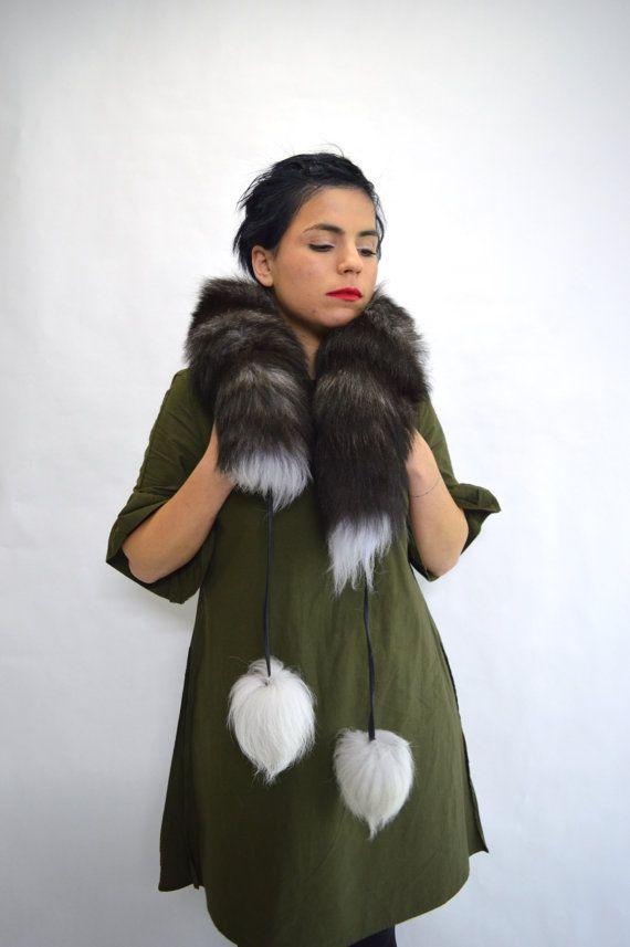 Real silver fox fur scarf wrap collar fur pelt with pom by BeFur
